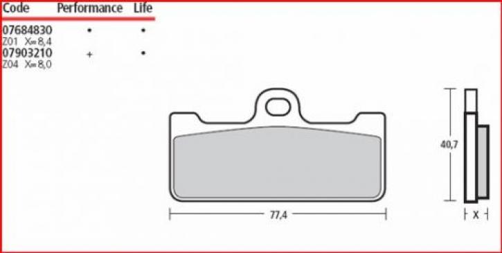 Brembo Bremsbelag Z01 für GP4RR