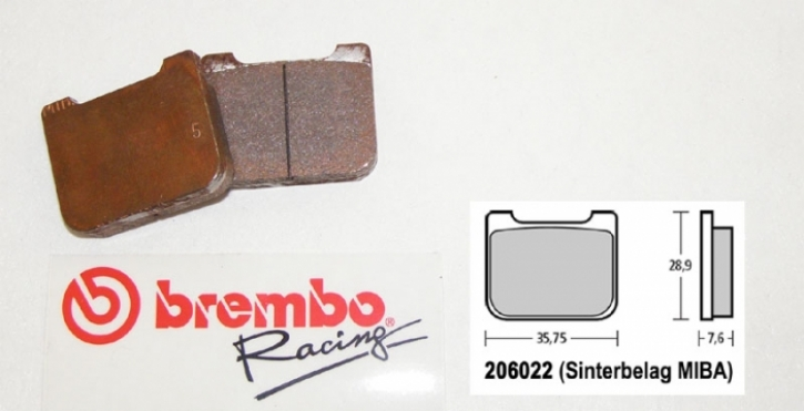 Bremb0 brake pad for P4 / 24 / 30 mm sintered TH. 7,5 mm