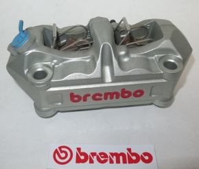 Brembo caliper P4 34/34, silver with Brembo-Logo in red, left side